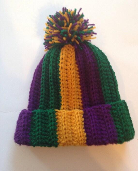 Adult Mardi Gras Messy Bun Hat