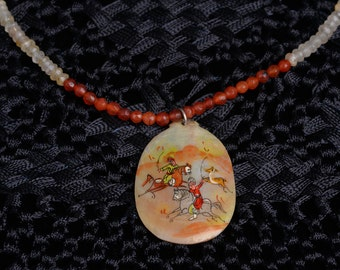Vintage, Persian, hand-painted shell pendant on rust and cream colored beaded necklace