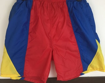 1efeead813 Vintage Jantzen 90's Mens Color Block Swim Red Shorts size S Small Blue  Yellow Trunks