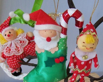 """Vintage 60's  """"RUSS"""" Polka Dot Ornaments Plus One 50's Pixie Ornament  Lot of 5"""