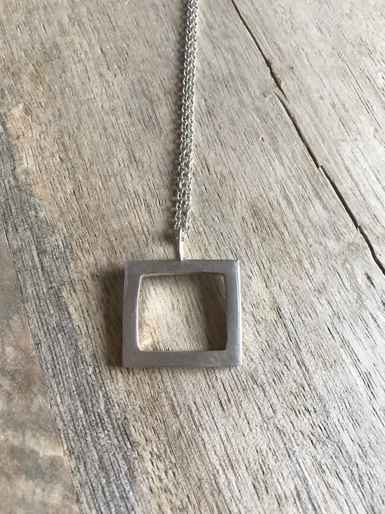 Rogarfee Necklace  Geometric Square Necklace in Sterling image 0