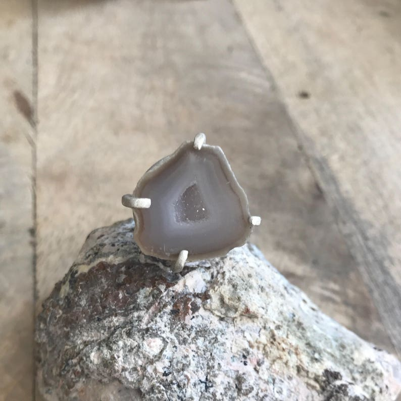 Statement Geode Ring set in Sterling Silver  Size 6 image 0