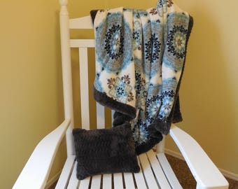 Medallion Blue and Gray Minky Blanket and Pillow Set