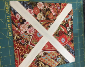 """St. Andrew's Cross Quilt Block - Downloadable PDF - 4"""" and 8"""" sizes - BEGINNER FRIENDLY"""