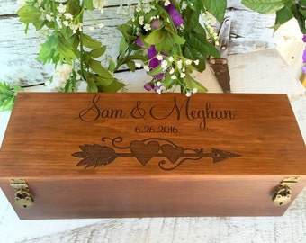 Wine Box, Wedding Wine Box, Wedding Gift, Custom Wine Box, Engraved Wine Box, Anniversary Gift, Wooden Wine Box, Rustic Wine Box, Ceremony