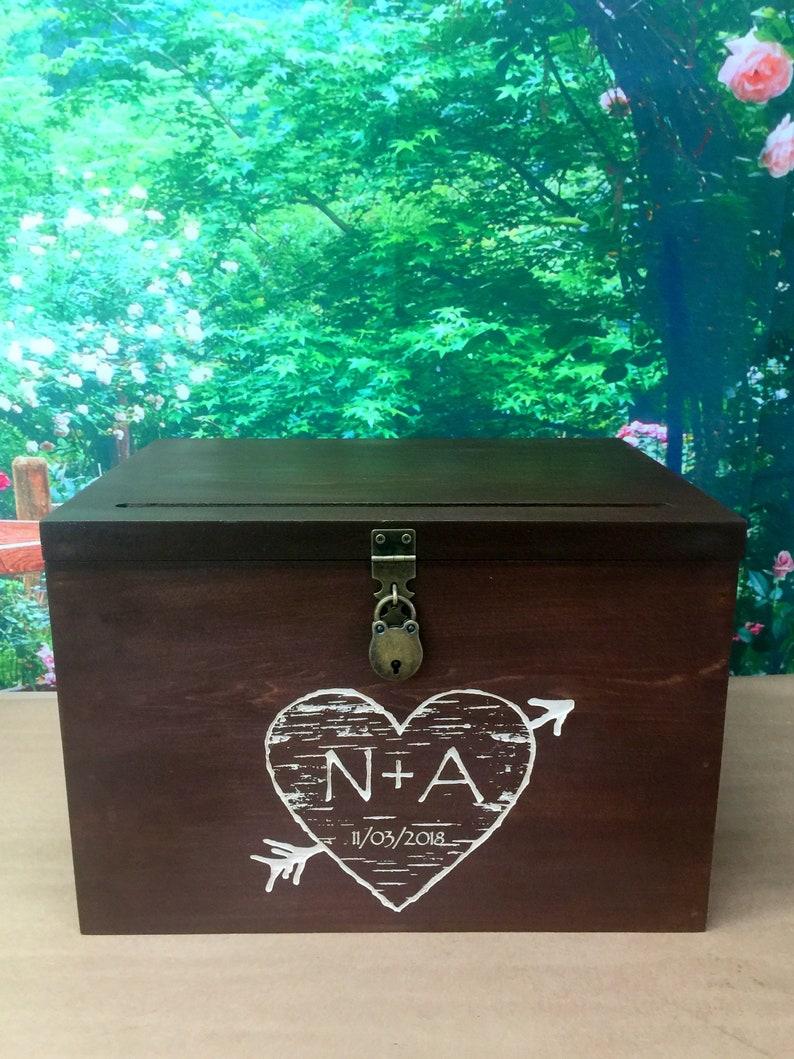 Wedding Card Box Medium Size Rustic Wedding Gift Card Box Wedding Box Rustic Card Box Engraved Personalized