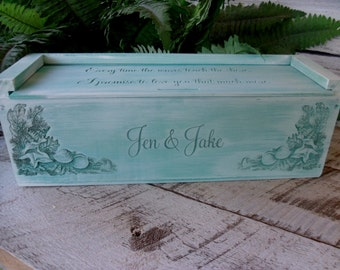 Wine Box, Wedding Wine Box, Beach Wedding Wine Box, Anniversary, Custom Wine Box