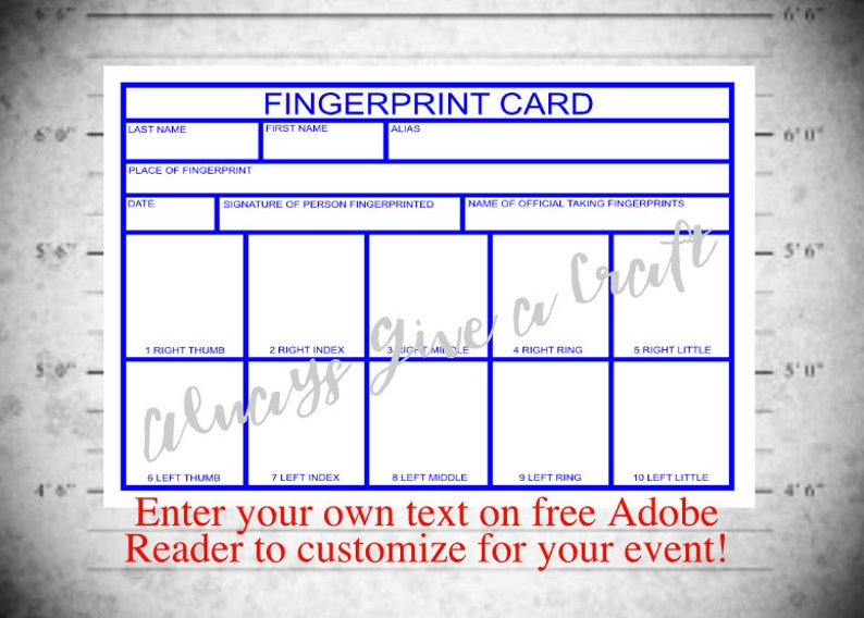 graphic relating to Printable Fingerprint Card titled Fingerprint Card for Law enforcement Social gathering Instantaneous obtain with EDITABLE terms bins, at household printable template
