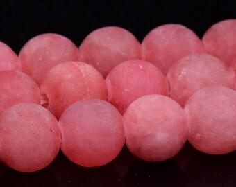 "6MM Matte Strawberry Pink Jade Beads Grade AAA Natural Gemstone Full Strand Round Loose Beads 15"" BULK LOT 1,3,5,10 and 50 (100952-351)"