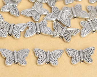 10pcs Antique Silver Rectangle Butterfly Beads Metal Spacers 7x14mm B68069