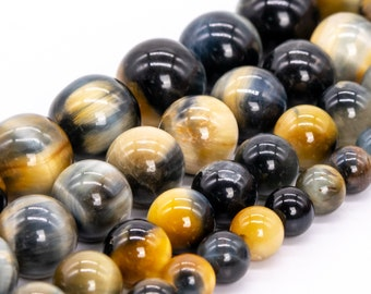 Hawk Eye Yellow Blue Tiger Eye Beads Genuine Natural Grade AAA Gemstone Micro Faceted Round Loose Beads 6MM 8MM 10MM 12MM Bulk Lot Options