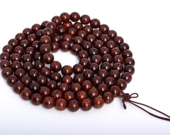 """10MM African Red Sandalwood Mala Beads 108 Pcs Natural Wood Round Beads 45"""" BULK LOT 1,3,5,10 and 50 (80015-563)"""