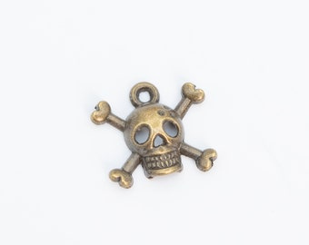 5pcs Spacer Charm Antique Brass Metal Pendant Jewelry Making Skull 28x28x3mm