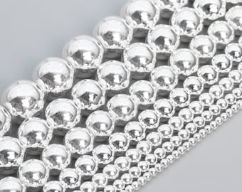 Smooth Hematite Silver color Electroplating Round Loose Beads 2mm~12mm