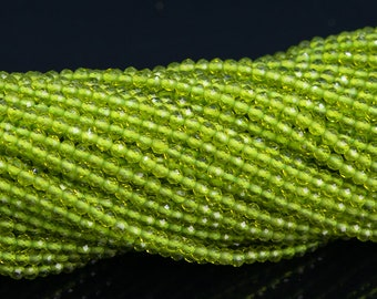 Green Quartz beads 2mm faceted rounds 13 inch strand micro