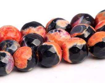 10mm Faceted Round Beads Agate Beads 122025311 15.5 Inch Orange /& Black