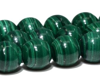 "9MM Genuine Green Malachite Beads South Africa AAA Natural Gemstone Full Strand Round Loose Beads 15.5"" BULK LOT 1,3,5,10,50 (103022-655)"
