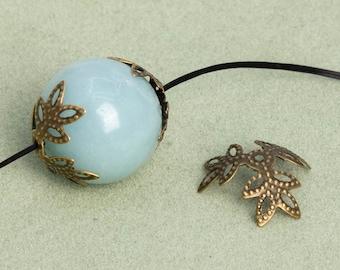 16 Hollow Floral Bead Cap 10mm Antique Bronze Tone 110139-3129