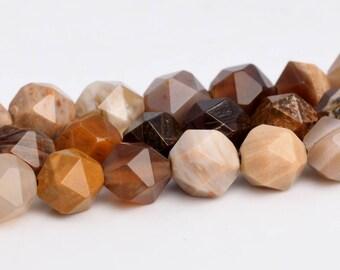 "5-6MM America Petrified Wood Jasper Beads Star Cut Faceted Grade AAA Genuine Natural Loose Beads 15"" BULK LOT 1,3,5,10 and 50 (102905-626)"