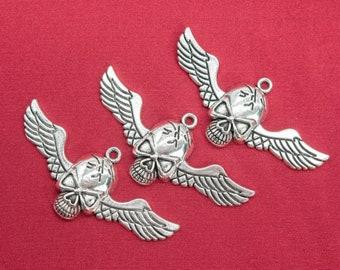 66839-3401 56x26x1MM Skull With Wings Charm Antique Silver Tone Zinc Alloy Charm 2 Pcs Bulk Lot Options