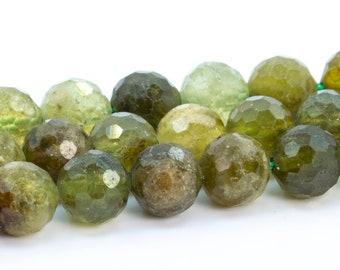 90189120-B54 8mm Green Garnet Gemstone Brown Green Grade A Round Loose Beads 16 inch Full Strand