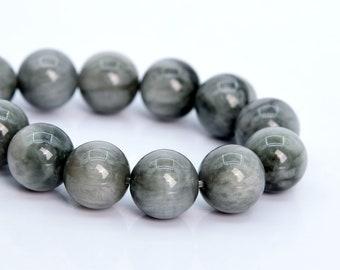 12MM Light Gray Chrysoberyl Cat Eye Beads AA Genuine Natural Gemstone Half Strand Round Loose Beads 8 BULK LOT 1,3,5,10,50 105932h-1786