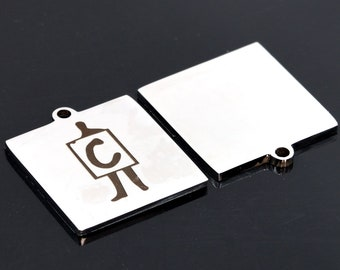 40614-2149 1 pcs Stainless Steel Alphabet Letter L Square Charm