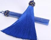 2 Pcs 5.5 quot 14CM Royal Blue Tassel 1.9CM Thickness Artificial Silk Handcraft Tassels for Jewelry Design BULK LOT 2,4,6,12,50 (60872-040)