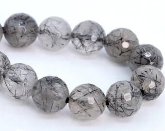 7.5/'/' Inches Full Strand Nugget Faceted Beads Semiprecious Rutile Gemstone Beads Black Rutile Gemstone Beads