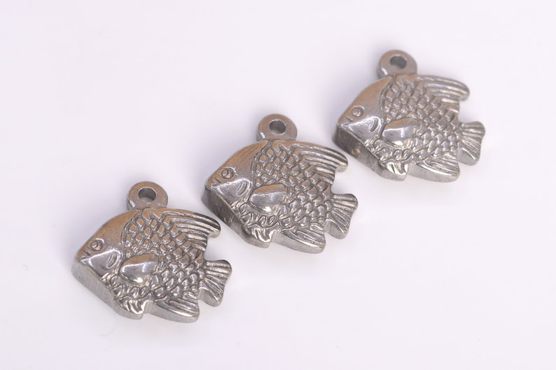 61531-2102 17x17MM Tropical Fish Charm Double Side Stainless Steel Charm 2 Pcs Bulk Lot Options