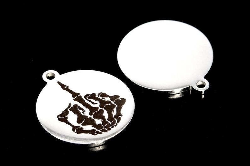 22x20MM Skeleton Hand Coin Charm Stainless Steel Bulk Lot Options 40583-2148