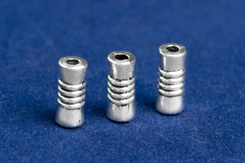 9x4MM Antique Silver Tone Spacer Beads Tube 30 Pcs Bulk Lot Options 62678-2341