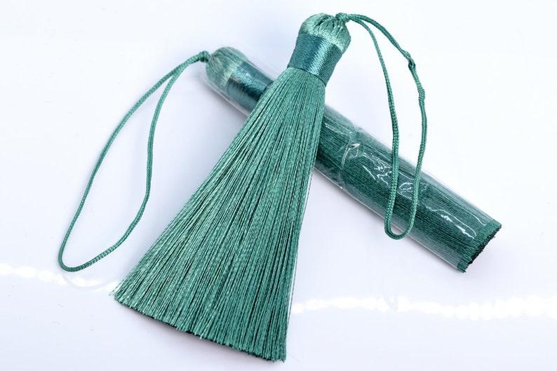 60724-012 50 2 Pcs 3.14  8CM Peacock Green Tassel 1CM Thickness Artificial Silk Handcraft Tassels for Jewelry Design BULK LOT 2,4,6,12