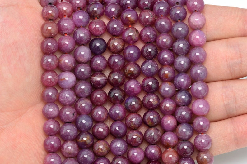 8MM Ruby Beads Grade AAA Genuine Natural Gemstone Full Strand Round Loose Beads 15.5 BULK LOT 1,3,5,10 and 50 100313-285