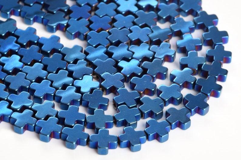 4MM Blue Hematite Beads Cross Grade AAA Natural Gemstone Full Strand Loose Beads 16 BULK LOT 1,3,5,10 and 50 104788-1306