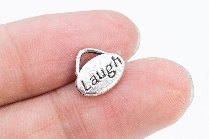 12x11x2MM Laugh Oval Charm Double Side Antique Silver Tone Zinc Metal Alloy Charm 10 Pcs Bulk Lot Options 65936-3356