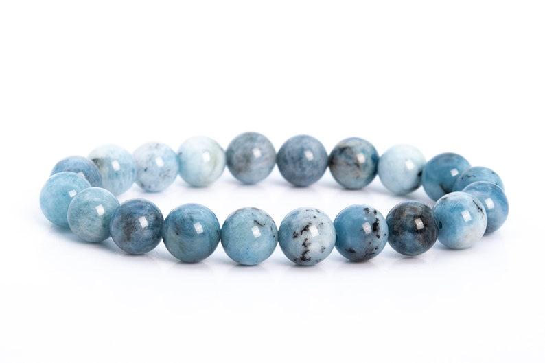 9MM Blue Aquamarine Biotite Inclusions Beads Bracelet Brazil Grade A Genuine Natural Round Gemstone 7 114126h-3764