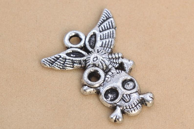 62058-2192 27x22MM Skull Charm Antique Tibetan Silver Tone Zinc Alloy Charm 5 Pcs Bulk Lot Options