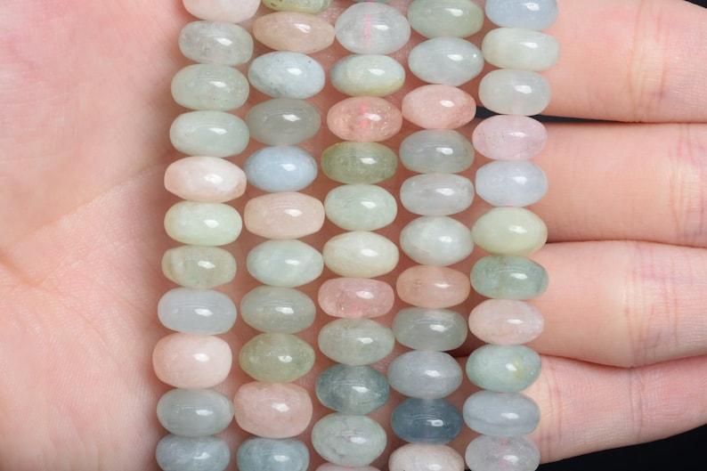 9x5MM Beryl Morganite Aquamarine Beads Africa AAA Genuine Natural Gemstone Full Strand Rondelle Beads 15.5 Bulk Lot Options 107963-2606