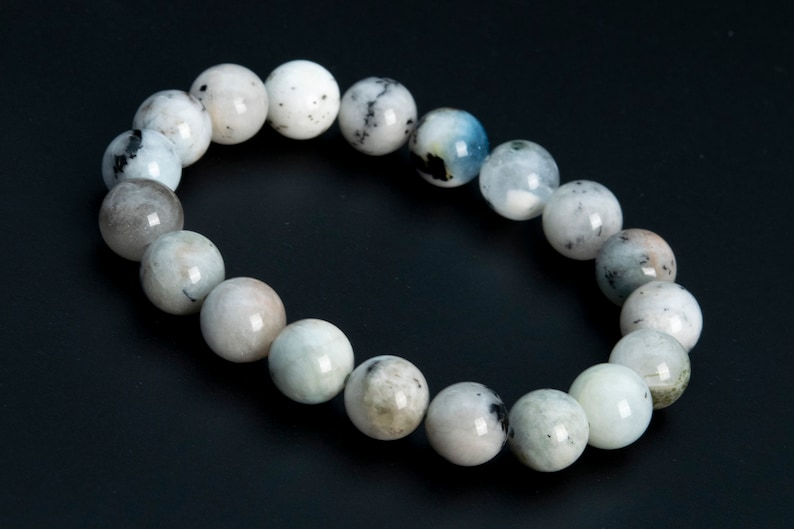 ONLY ONE 9-10MM Multicolor Aquamarine Biotite Inclusions Bead Brazil Grade B Genuine Natural Half Strand Round Loose Beads 7 114093h-3762