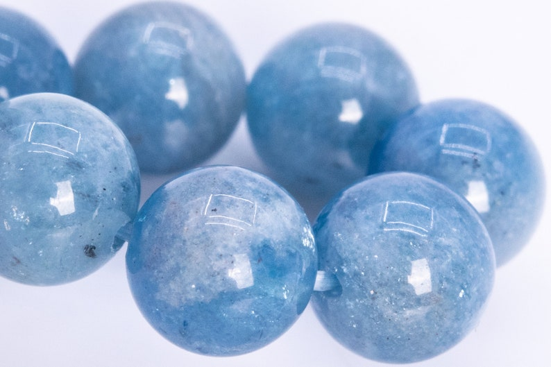 114197h-3768 Genuine Natural Round Gemstone 7 8-9MM Sky Blue Aquamarine Biotite Inclusions Beads Bracelet Brazil Grade A