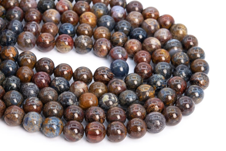 112665h-3542 10-11MM Blue Brown Pietersite Beads Grade AAA Genuine Natural Gemstone Half Strand Round Loose Beads 7