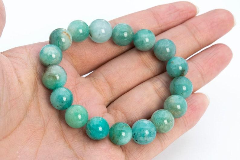 115779h-3909 Natural Round Gemstone 7.5 ONLY ONE 11-12MM Genuine Peruvian Amazonite Beads Green Bracelet Grade A