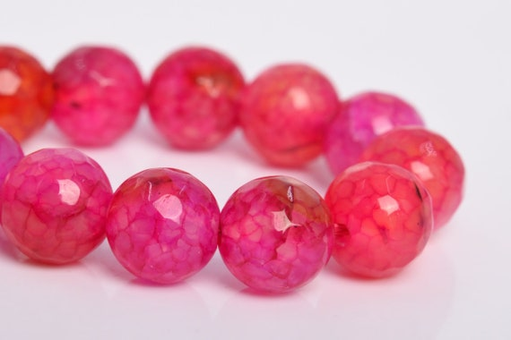 """8MM Natural Fuchsia Cracked Agate Beads Grade A Faceted Round Loose Beads 7.5/"""""""