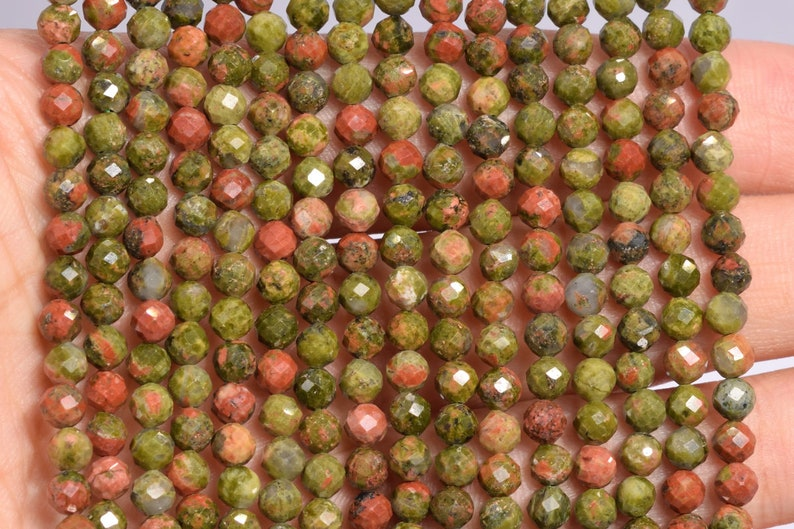 4MM Lotus Pond Unakite Beads Grade AAA Genuine Natural Gemstone Full Strand Faceted Round Loose Beads 15.5 Bulk Lot Options 107713-2512