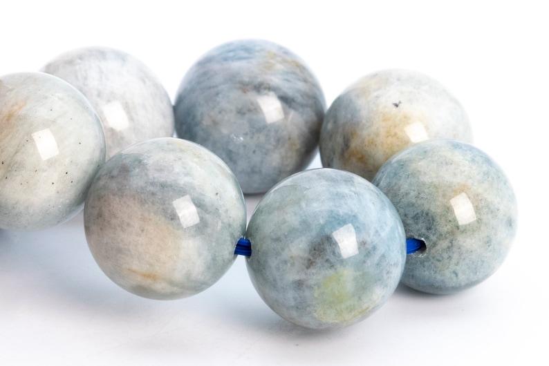 12MM Faint Gray Blue Aquamarine Biotite Inclusions Beads Bracelet Brazil Grade B Genuine Natural Round Gemstone 7.5 113944h-3756