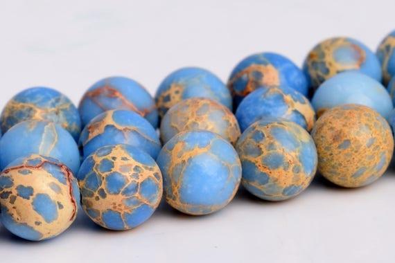 6MM Light Blue Sea Sediment Imperial Jasper Beads Grade AAA Natural Gemstone Round Loose Beads 15 BULK LOT 1,3,5,10 and 50 102757-601