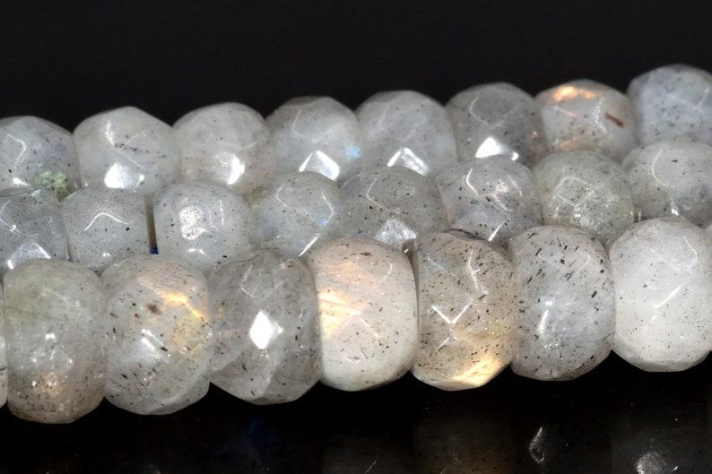 8x5MM Light Gray Labradorite AA Genuine Natural Gemstone Full Strand Faceted Rondelle Loose Beads 15.5 BULK LOT 1,3,5,10,50 105013-1400