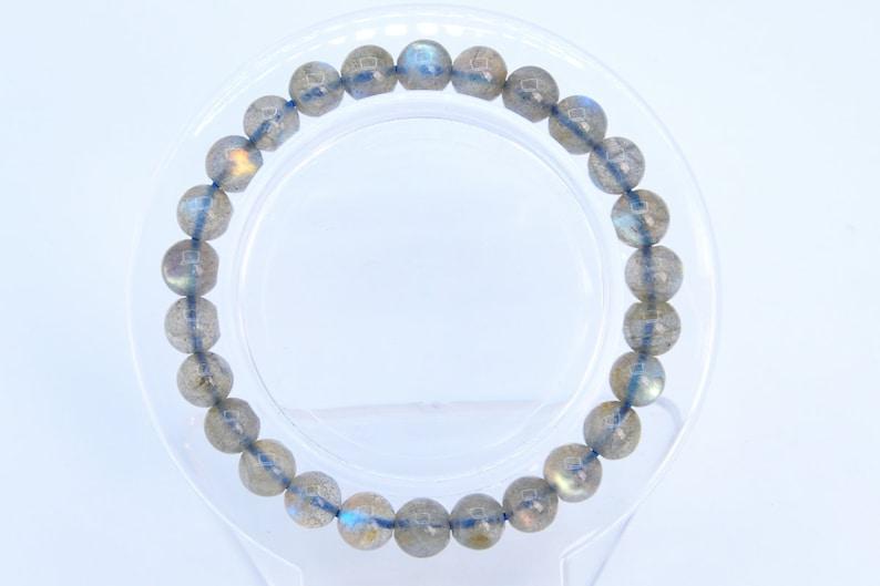 7MM Translucent Light Gray Labradorite Bracelet Madagascar Grade AAAAA Genuine Natural Round Gemstone 7 Bulk Lot Options 107288h-2359