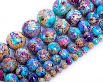 Icy Blue & Purple Sea Sediment Imperial Jasper Beads Natural Grade AAA Gemstone Round Loose Beads 4MM 6MM 8MM 10MM 12MM Bulk Lot Options